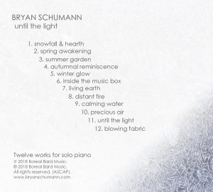 Track Listing for Until the Light - Back of Physical CD Case