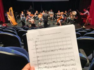 Photo of the orchestra and film score from MNKINO FSF 2018 Dress Rehearsal by Bryan Schumann