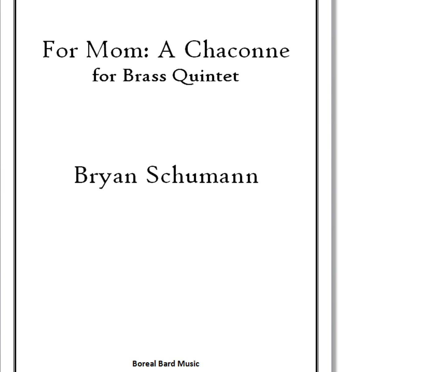 For Mom: A Chaconne for Brass Quintet - Sheet Music Product Image